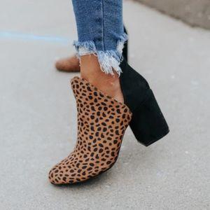 Leopard side cut chunky heel bootie
